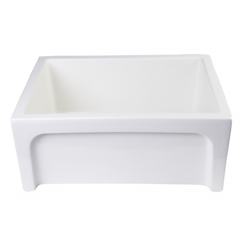 "ALFI brand AB2418ARCH-B 24"" Biscuit Arched Apron Thick Wall Fireclay Single Bowl Farm Sink"