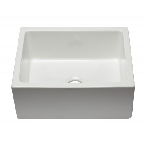 ALFI brand AB2418HS-W 24 inch White Reversible Smooth / Fluted Single Bowl Fireclay Farm Sink
