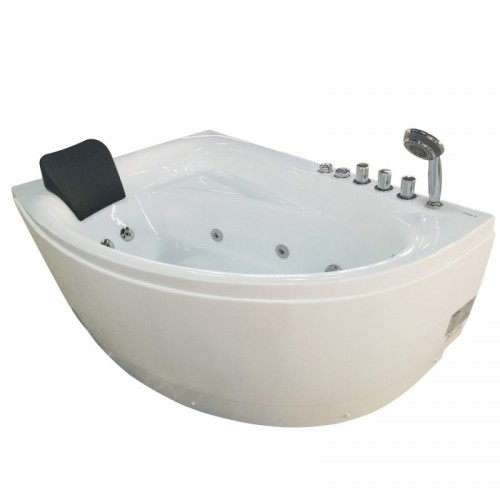 EAGO AM161-R 5' Single Person Corner White Acrylic Whirlpool Bath Tub - Drain on Right