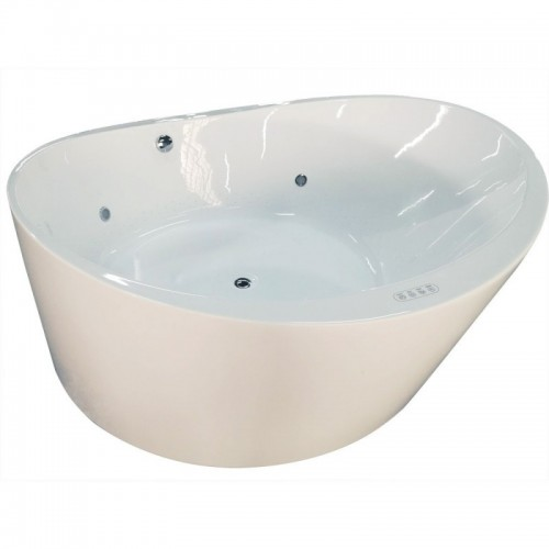 "EAGO AM2130 66"" Round Free Standing Acrylic Air Bubble Bathtub"