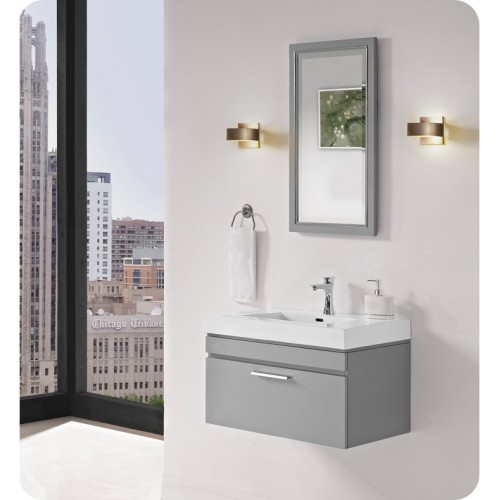 "Fairmont Designs 179-WV30 Metropolitan 30"" Wall Mount Vanity and Sink Set in Glossy Light Gray"