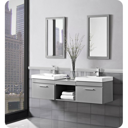 "Fairmont Designs 179-WV21_WB1818_WV21 Metropolitan 60"" Modular Wall Mount Vanity and Sink Set in Glossy Light Gray"