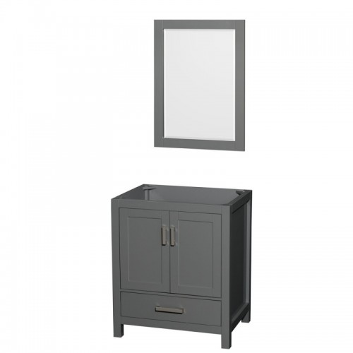 30 inch Single Bathroom Vanity in Dark Gray, No Countertop, No Sink, and 24 inch Mirror