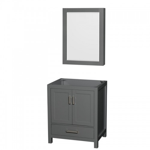 30 inch Single Bathroom Vanity in Dark Gray, No Countertop, No Sink, and Medicine Cabinet