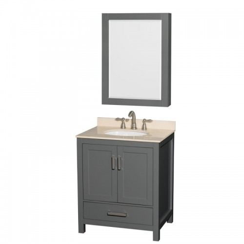 30 inch Single Bathroom Vanity in Dark Gray, Ivory Marble Countertop, Undermount Oval Sink, and Medicine Cabinet