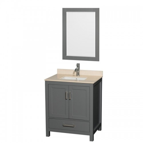 30 inch Single Bathroom Vanity in Dark Gray, Ivory Marble Countertop, Undermount Square Sink, and 24 inch Mirror