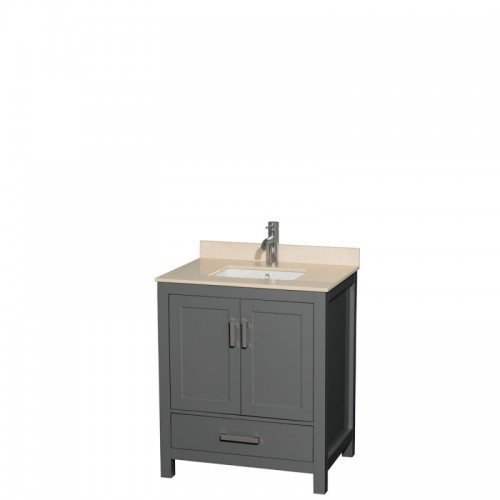 30 inch Single Bathroom Vanity in Dark Gray, Ivory Marble Countertop, Undermount Square Sink, and No Mirror