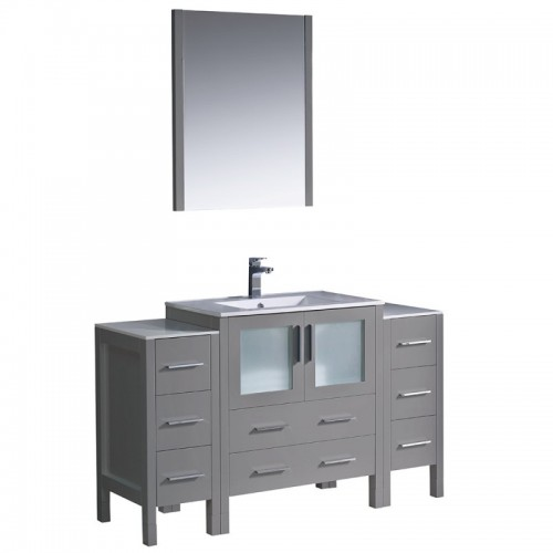 "Fresca Torino 54"" Gray Modern Bathroom Vanity w/ 2 Side Cabinets & Integrated Sink"