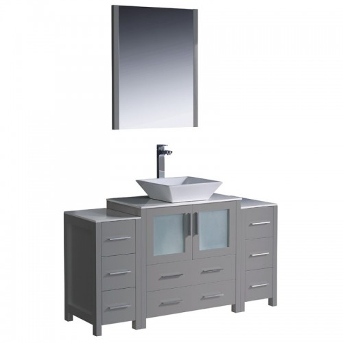 "Fresca Torino 54"" Gray Modern Bathroom Vanity w/ 2 Side Cabinets & Vessel Sink"