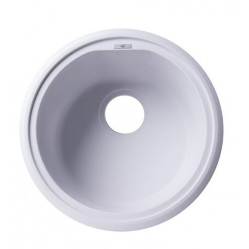 "ALFI brand AB1717DI-W White 17"" Drop-In Round Granite Composite Kitchen Prep Sink"