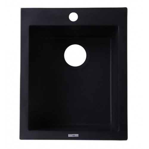 "ALFI brand AB1720DI-BLA Black 17"" Drop-In Rectangular Granite Composite Kitchen Prep Sink"