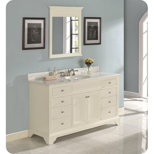 "Fairmont Designs 1502-V60 Framingham 60"" Single Bowl Traditional Vanity in Polar White"