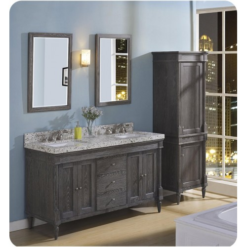 """Fairmont Designs 143-V6021D Rustic Chic 60"""" Double Bowl Transitional Vanity in Silvered Oak"""