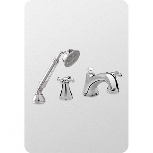 TOTO TB220S Vivian™ Deck-Mount Tub Filler Trim with Cross Handles and Handshower