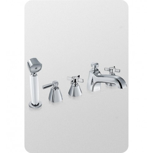 TOTO TB970S Guinevere® Deck-Mount Bath Faucet with Cross Handles, Handshower and Diverter