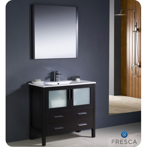 "Fresca Torino 36"" Espresso Modern Bathroom Vanity w/ Integrated Sink"
