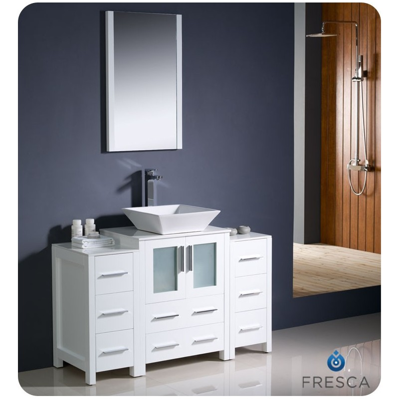 """Fresca FVN62-122412WH-VSL Torino 48"""" Modern Bathroom Vanity with 2 Side Cabinets and Vessel Sink in White"""