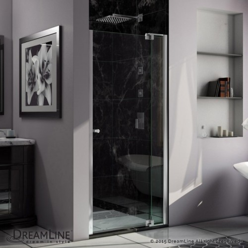 DreamLine Allure 38 to 39 in. Frameless Pivot Shower Door, Clear Glass Door in Chrome Finish
