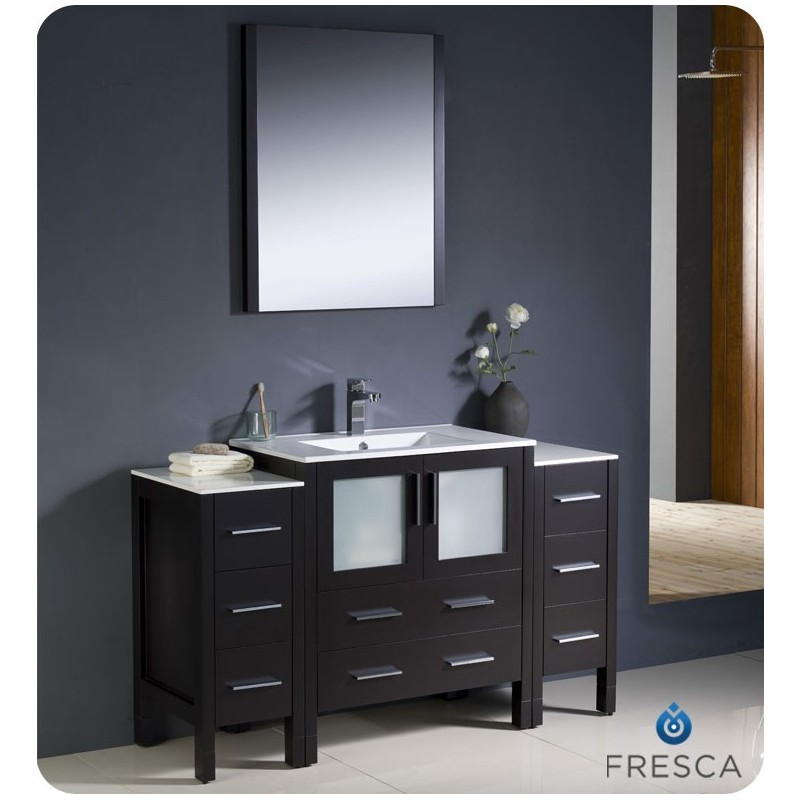 """Fresca FVN62-123012ES-UNS Torino 54"""" Modern Bathroom Vanity with 2 Side Cabinets and Integrated Sink in Espresso"""