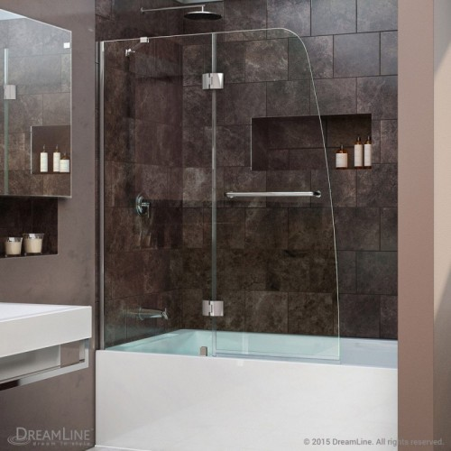 "DreamLine Aqua 48"" Frameless Hinged Tub Door, Clear 1/4"" Glass Door, Chrome Finish"