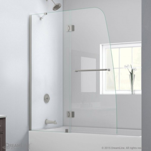 "DreamLine Aqua 48"" Frameless Hinged Tub Door, Clear 1/4"" Glass Door, Brushed Nickel Finish"