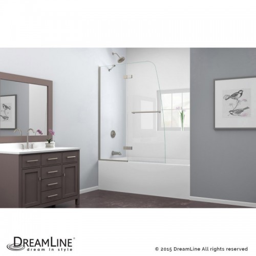 "DreamLine Aqua Ultra 48"" Frameless Hinged Tub Door, Clear 5/16"" Glass Door, Brushed Nickel Finish"