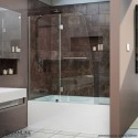 DreamLine Aqua 56 to 60 in. W x 58 in. H Hinged Tub Door, Brushed Nickel Finish Hardware