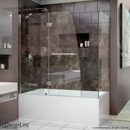 DreamLine Aqua 56 to 60 in. W x 58 in. H Hinged Tub Door, Chrome Finish Hardware