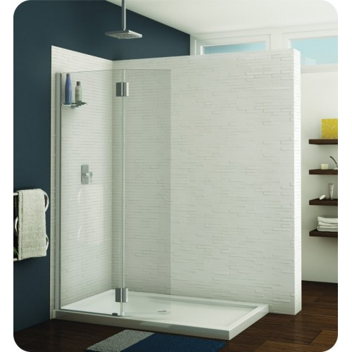 Fleurco VWGSS24 Evolution Monaco Square Top Shower Shield with Fixed Panel and Glass Shelf Support