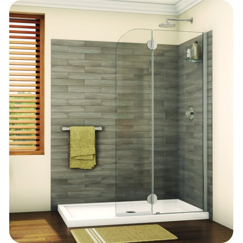 Fleurco VGSS24 Evolution Monaco Round Top Shower Shield with Fixed Panel and Glass Shelf Support