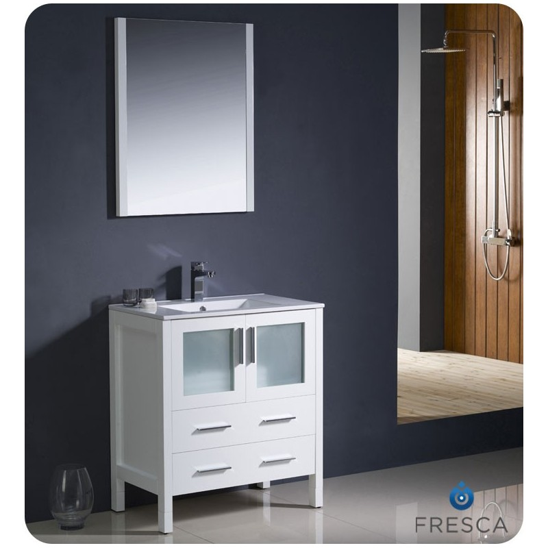 """Fresca FVN6230WH-UNS Torino 30"""" Modern Bathroom Vanity with Integrated Sink in White"""