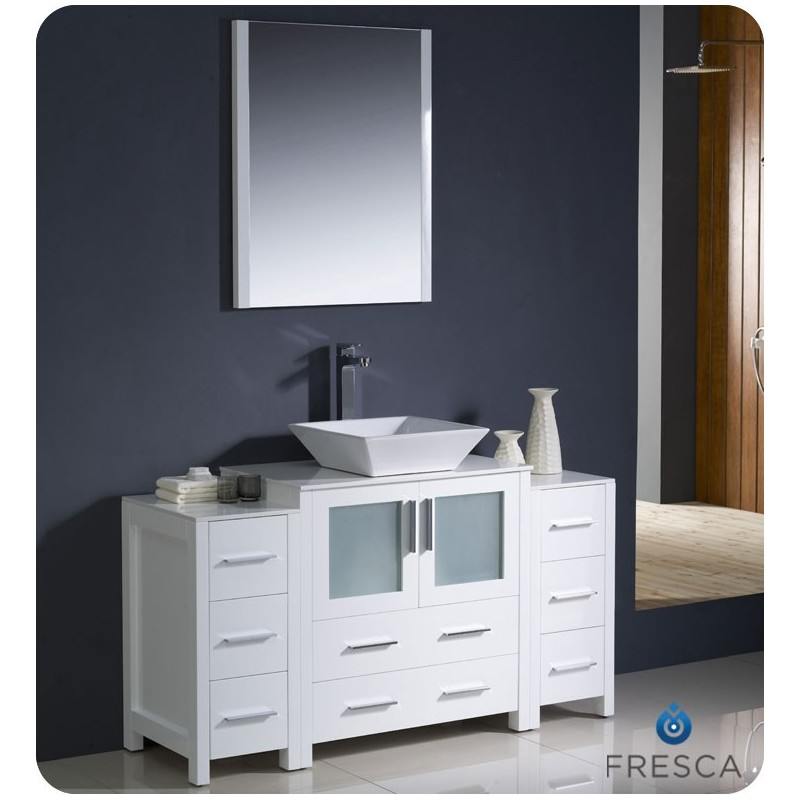 """Fresca FVN62-123012WH-VSL Torino 54"""" Modern Bathroom Vanity with 2 Side Cabinets and Vessel Sink in White"""