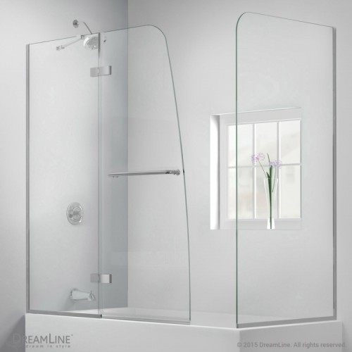 DreamLine Aqua Ultra 57 to 60 in. W x 30 in. D x 58 in. H Hinged Tub Door, Brushed Nickel Finish Hardware