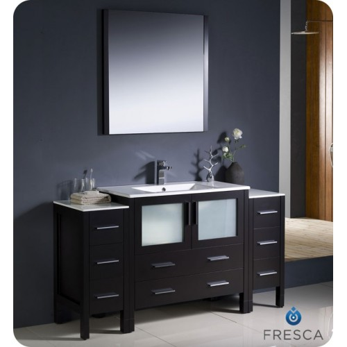 "Fresca Torino 60"" Espresso Modern Bathroom Vanity w/ 2 Side Cabinets & Integrated Sink"