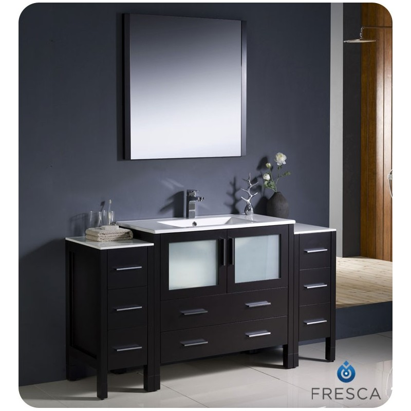 """Fresca FVN62-123612ES-UNS Torino 60"""" Modern Bathroom Vanity with 2 Side Cabinets and Integrated Sink in Espresso"""