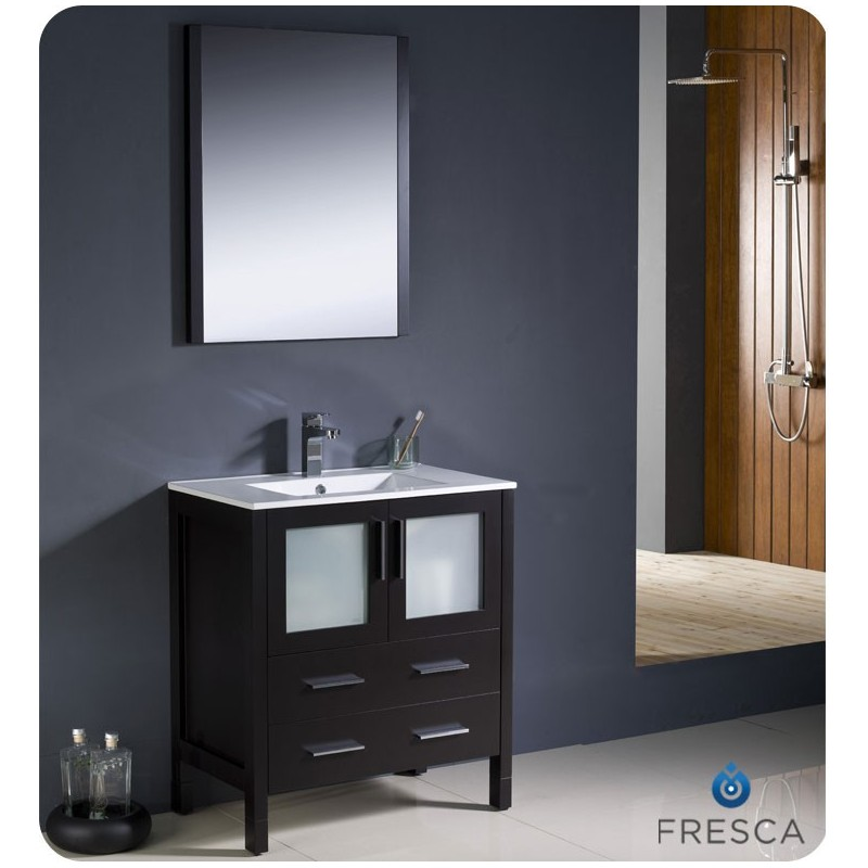 "Fresca FVN6230ES-UNS Torino 30"" Modern Bathroom Vanity with Integrated Sink in Espresso"