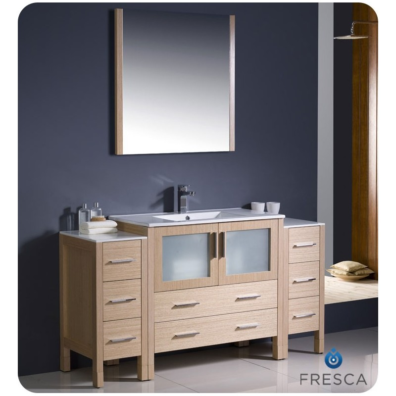 """Fresca FVN62-123612LO-UNS Torino 60"""" Modern Bathroom Vanity with 2 Side Cabinets and Integrated Sink in Light Oak"""