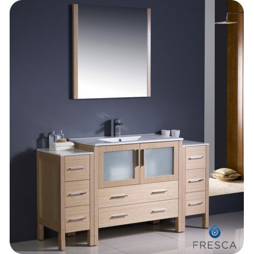"Fresca Torino 60"" Light Oak Modern Bathroom Vanity w/ 2 Side Cabinets & Integrated Sink"