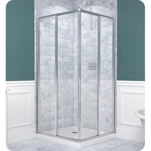 "DreamLine Cornerview 34 1/2"" by 34 1/2"" Framed Sliding Shower Enclosure, Clear 5/32"" Glass Shower, Chrome Finish"