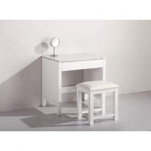 Make-up table and Stool in White Finish