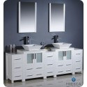 """Fresca FVN62-72WH-VSL Torino 84"""" Double Sink Modern Bathroom Vanity with 3 Side Cabinets and Vessel Sinks in White"""