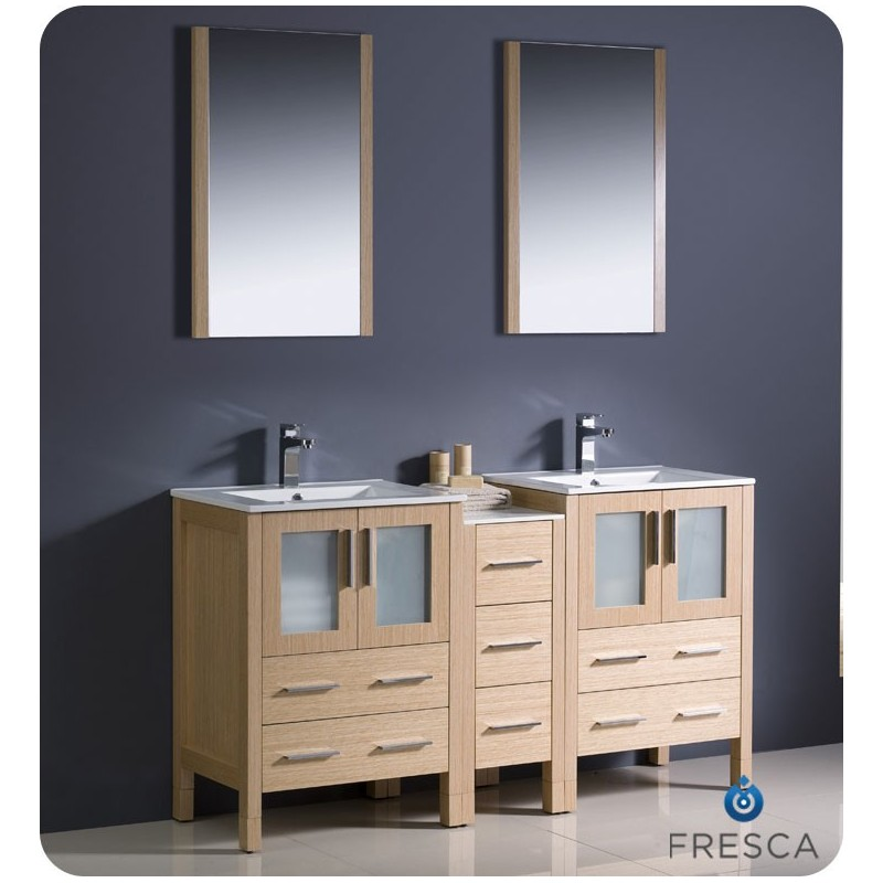 "Fresca FVN62-241224LO-UNS Torino 60"" Double Sink Modern Bathroom Vanity with Side Cabinet and Integrated Sinks in Light Oak"