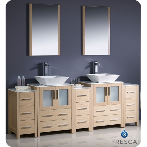 "Fresca Torino 84"" Light Oak Modern Double Sink Bathroom Vanity w/ 3 Side Cabinets & Vessel Sinks"