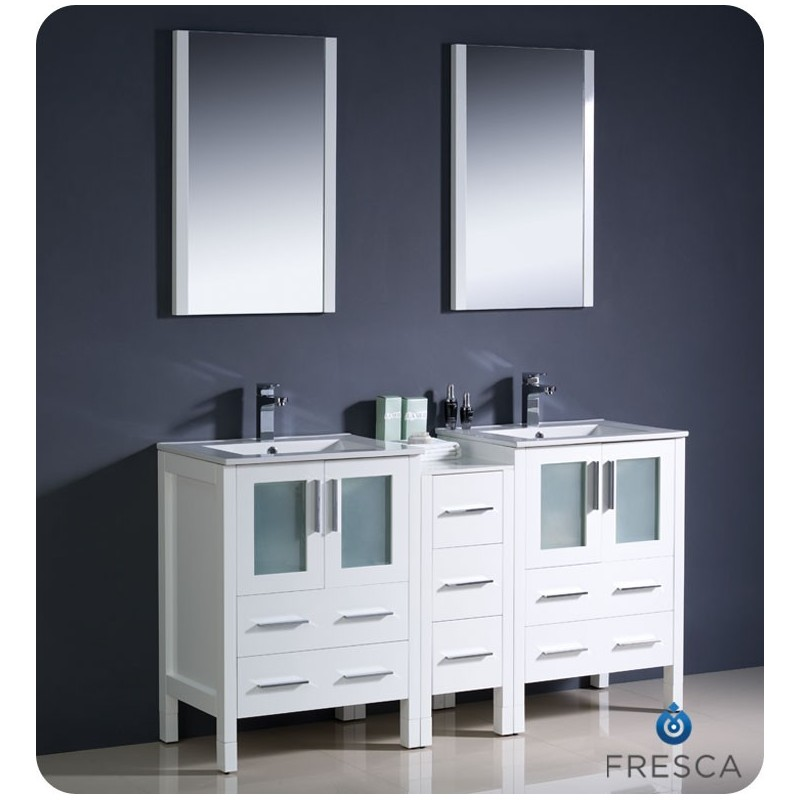 """Fresca FVN62-241224WH-UNS Torino 60"""" Double Sink Modern Bathroom Vanity with Side Cabinet and Integrated Sinks in White"""