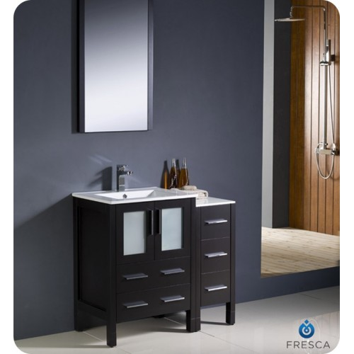 "Fresca Torino 36"" Espresso Modern Bathroom Vanity w/ Side Cabinet & Integrated Sinks"